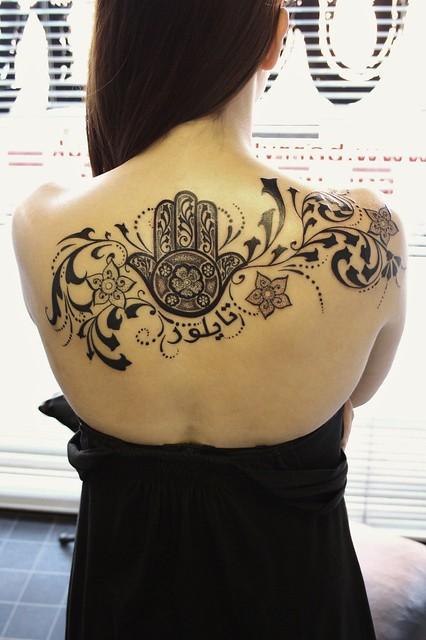 Custom hand of fatima tattoo upper back flickr photo for Hand of fatima tattoo