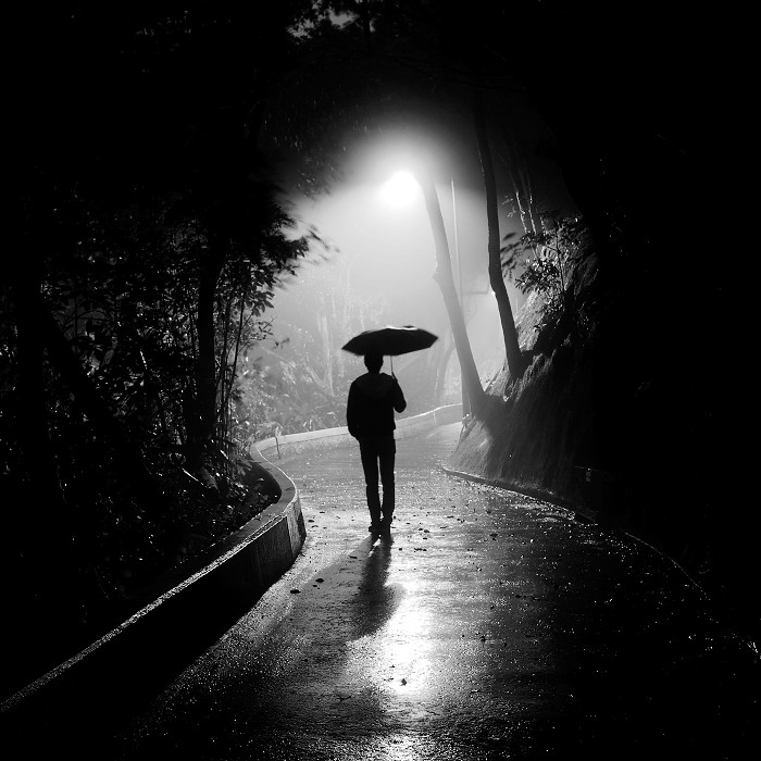 Man Alone Sad Quotes: Lonely Man In The Fog And Rain