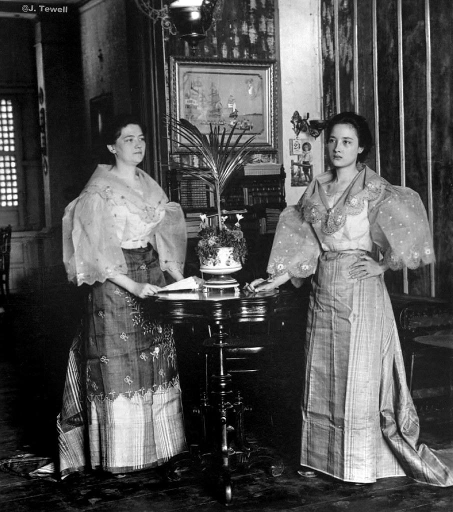 Young Spanish Mestizo Women In Native Dress Inside A Pleas