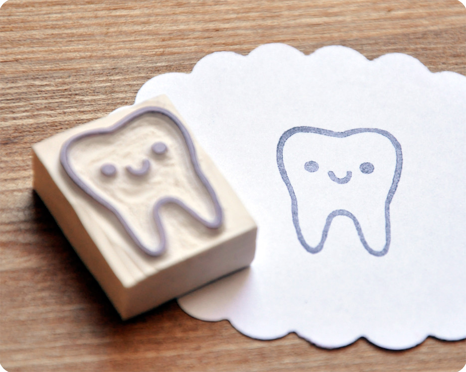 Tooth hand carved rubber stamp by memi the rainbow