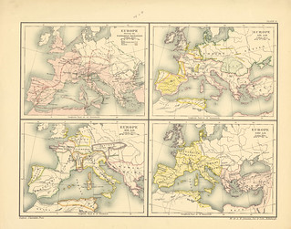 Section II Map page of Europe, 395-527A.D The Barbarian Invasions from Historical atlas of modern Europe from the decline of the Roman empire : comprising also maps of parts of Asia and of the New world connected with European history | by uconnlibrariesmagic