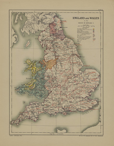 Map page from Section XVIII England and Wales under Edward I from Part VII of Historical atlas of modern Europe from the decline of the Roman empire : comprising also maps of parts of Asia and of the New world connected with European history | by uconnlibrariesmagic