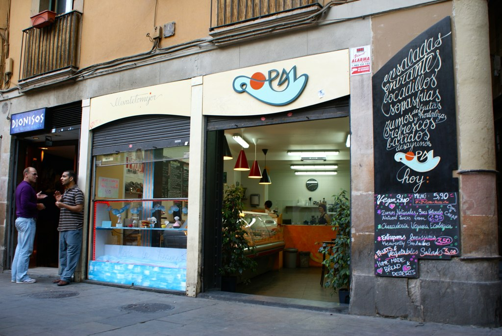 Restaurant végétalien Gopal à Barcelone.