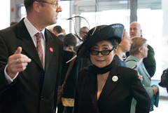 Yoko Ono arriving at the Museum of Liverpool