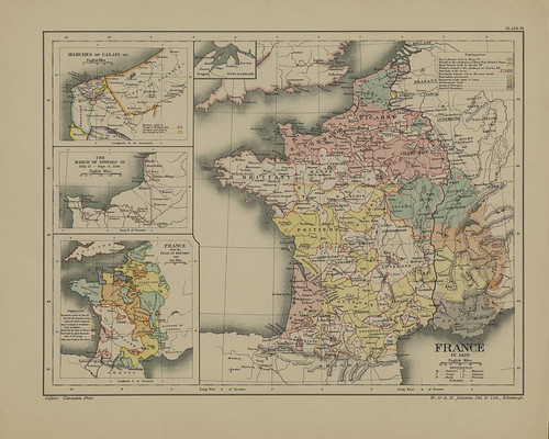 Map page of Section LVI France during the hundred years' war from Part VIII of Historical atlas of modern Europe from the decline of the Roman empire : comprising also maps of parts of Asia and of the New world connected with European history | by uconnlibrariesmagic