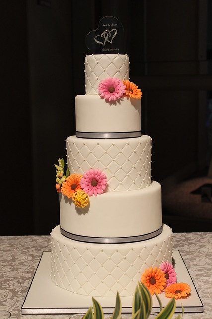 Quilted Wedding Cake With Gerbera Daisies