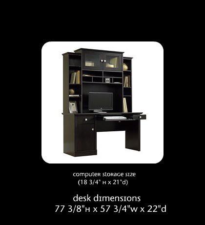 Sauder 174 Conrad Computer Desk And Hutch Tiered Elevation