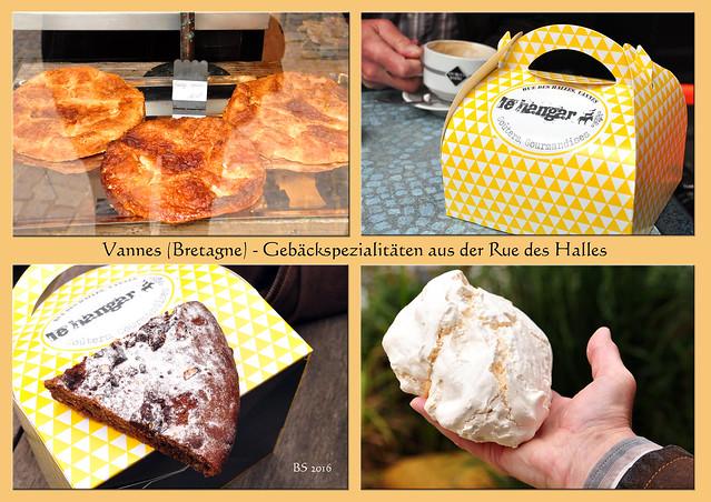 Bretagne 2016 - Vannes (Morbihan) - Baiser, Meringe, Meringue - Meringue gigante - Moelleux au chocolat - Gebäckspezialitäten - Foto: Brigitte Stolle 2016