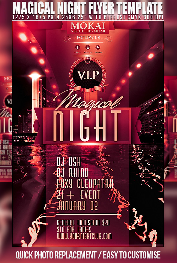 psd magical night flyer template