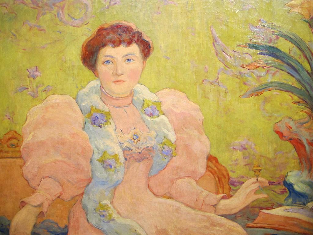 Jeune femme a la robe rose (1893) Claude Emile Schuffeneck