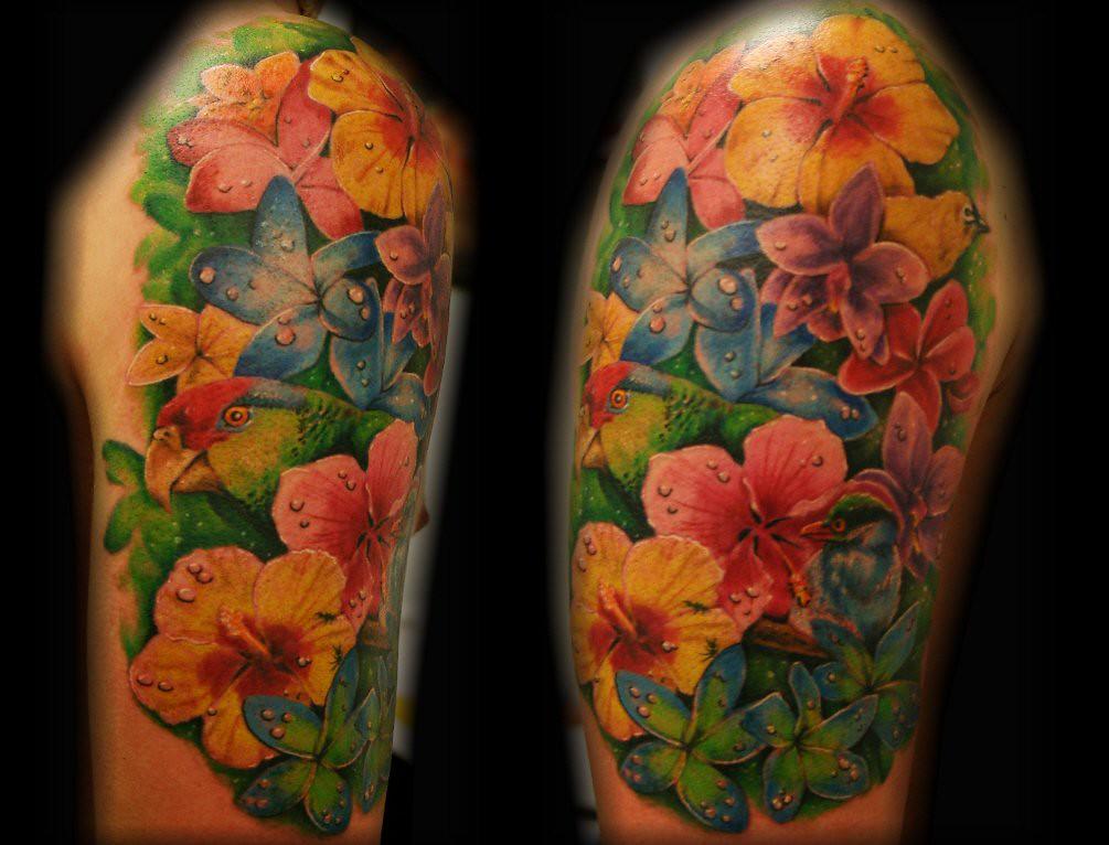 tropical flower bird parrot tattoo by jackie rabbit flickr. Black Bedroom Furniture Sets. Home Design Ideas