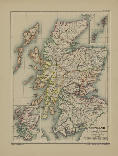 Map page of Section XXVI The Ecclesiastical organization of Scotland in the Middle Ages from Part VI of Historical atlas of modern Europe from the decline of the Roman empire : comprising also maps of parts of Asia and of the New world connected with Euro | by uconnlibrariesmagic