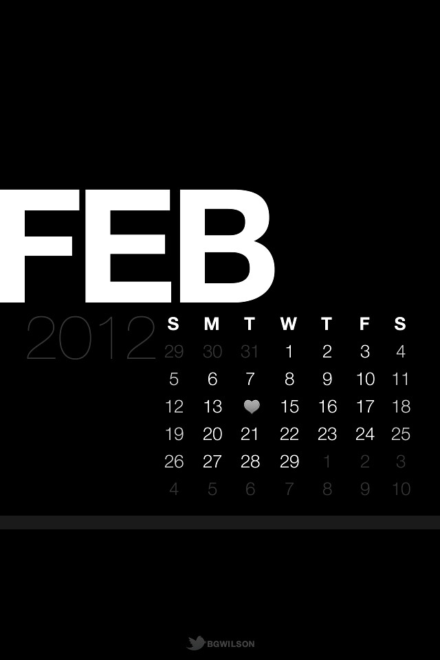 Calendar Lockscreen : February lock screen calendar wallpaper black ios re