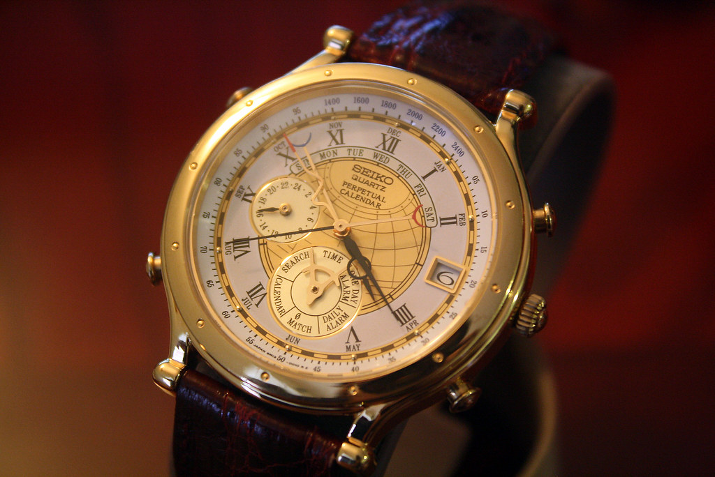 Weekly Calendar Quartz : Seiko m age of discovery perpetual calendar watch