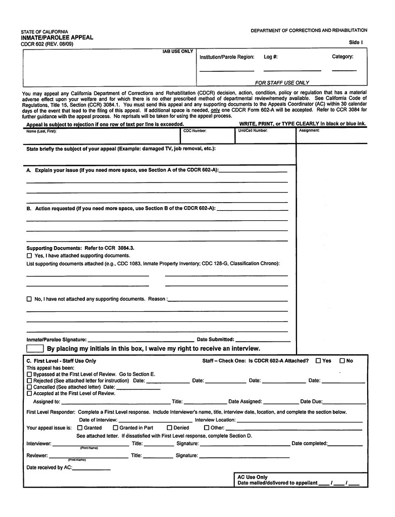 CDCR Form 602 | This is the form to submit to the parole or … | Flickr