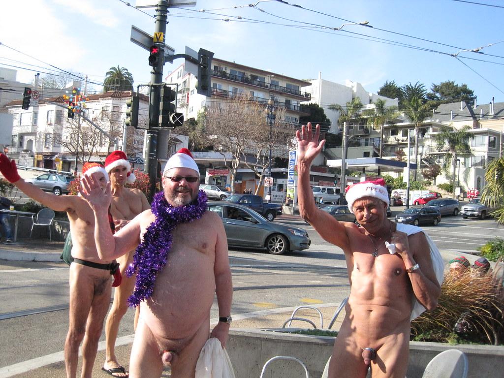 Naked Santas at Castro and Market | tom stovall | Flickr