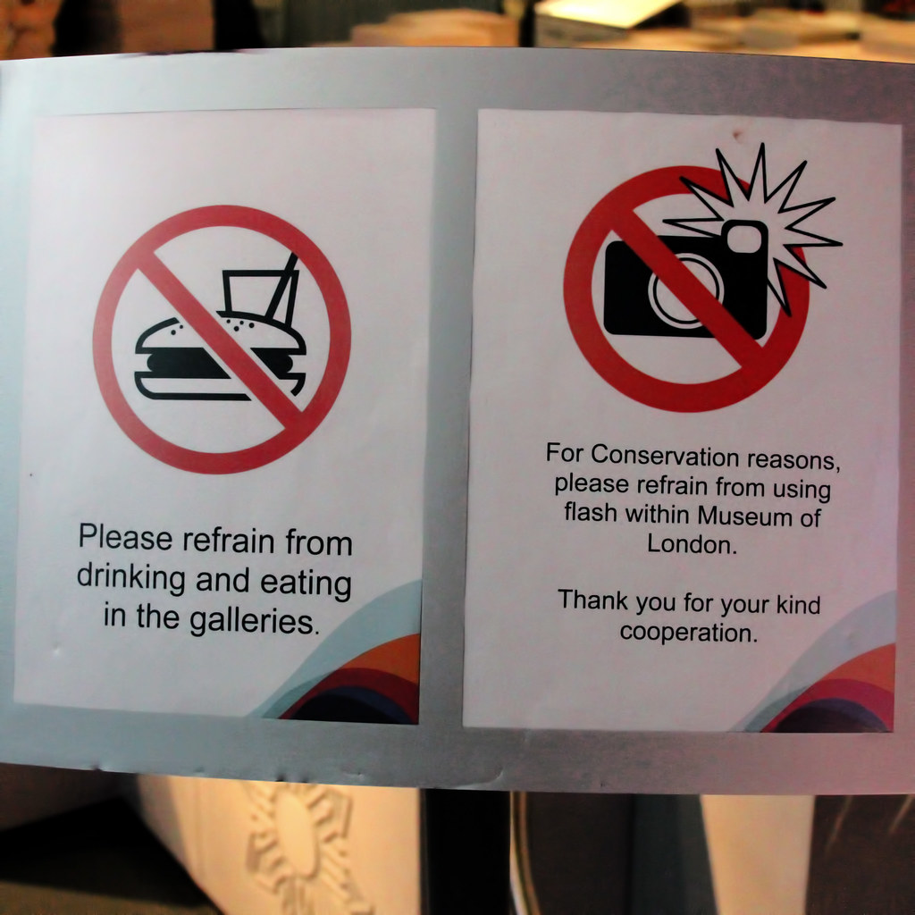 Please refrain from drinking and eating in the galleries ...
