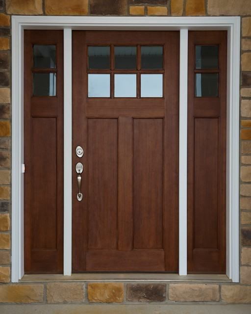 Craftsman style front door flickr photo sharing for Entry door with side windows