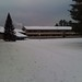 New fallen snow at the lodge - sidewalks covered