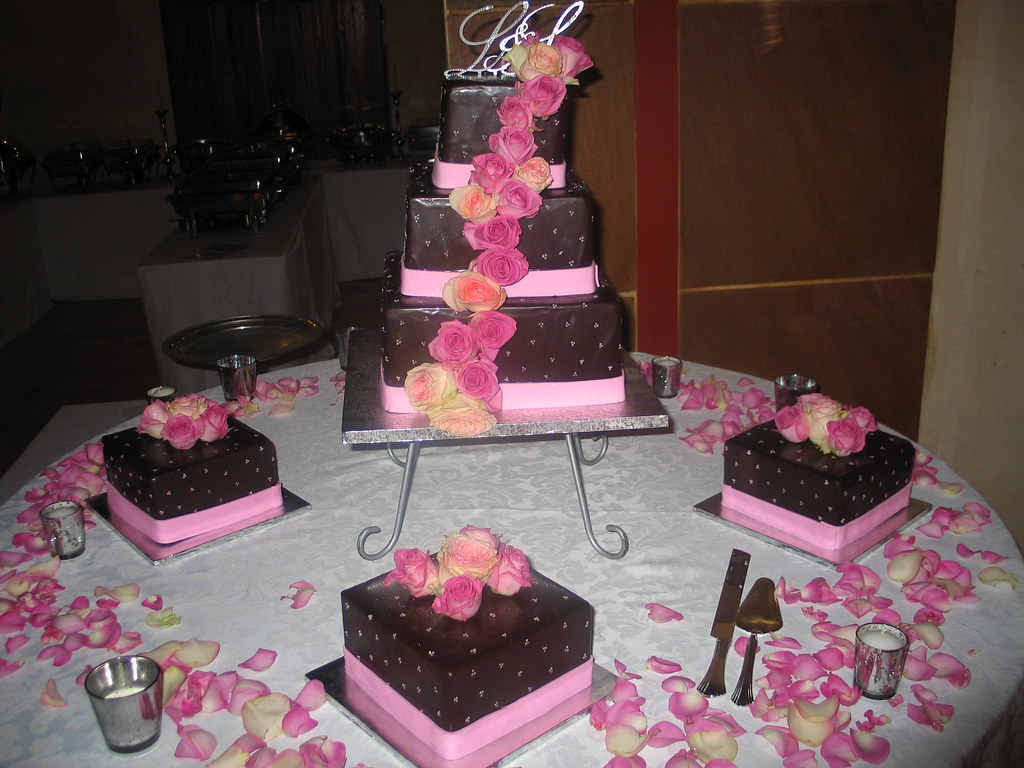 3 tier square Wicked Chocolate wedding cake iced in chocol