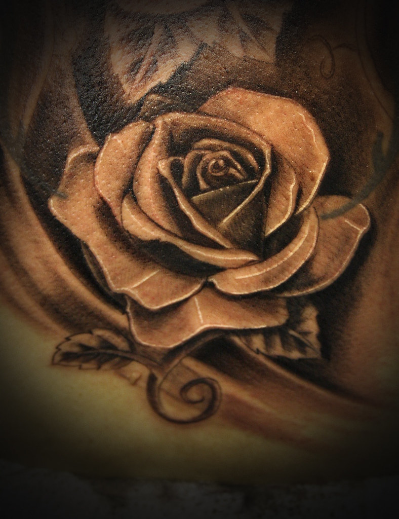 Realistic rose tattoo black and grey www for Black and gray rose tattoos