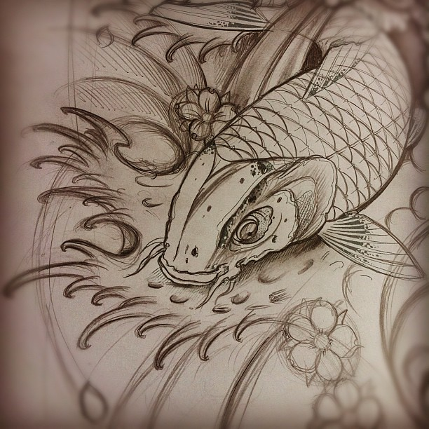 Sketch For A Japanese Sleeve: For Todays Sleeve #tattoo #japanese #koi #sketch