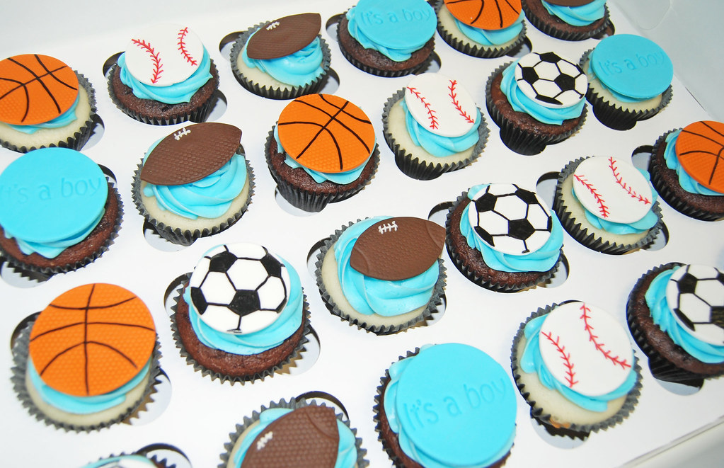 Its A Boy Sports Themed Baby Shower Cupcakes   Football, Su2026 | Flickr