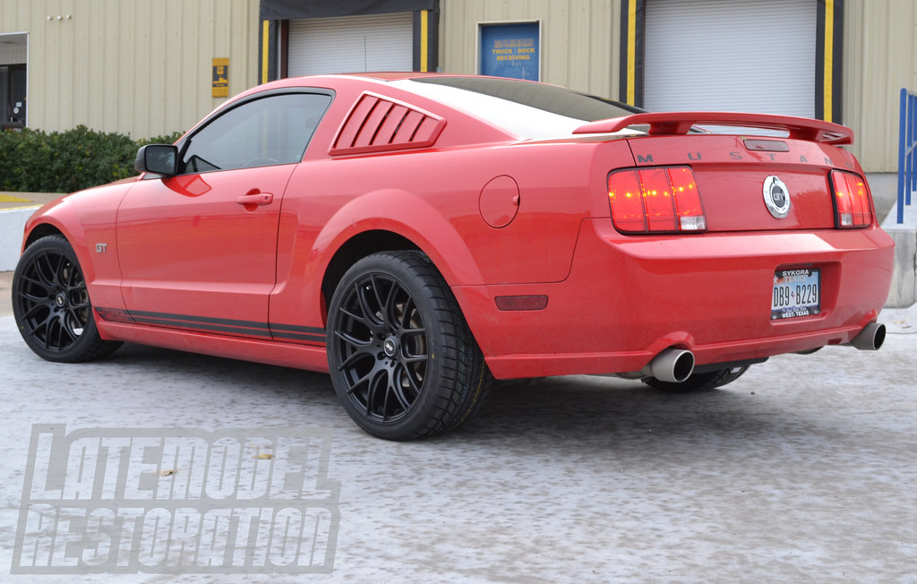 red 2005 ford mustang gt with 19x9 5 black sve drift wheel. Black Bedroom Furniture Sets. Home Design Ideas