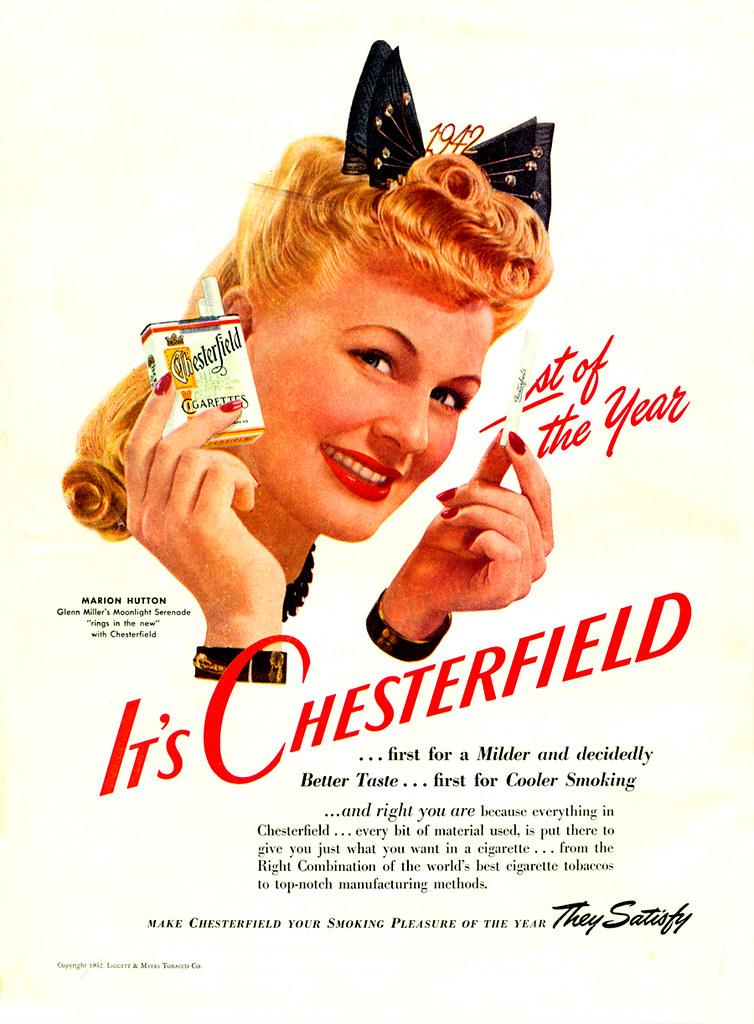 Chesterfield featuring Marion Hutton - published in Screenland - January 1942