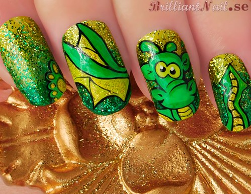 New Year Mani: Cute Dragon | by BrilliantNail