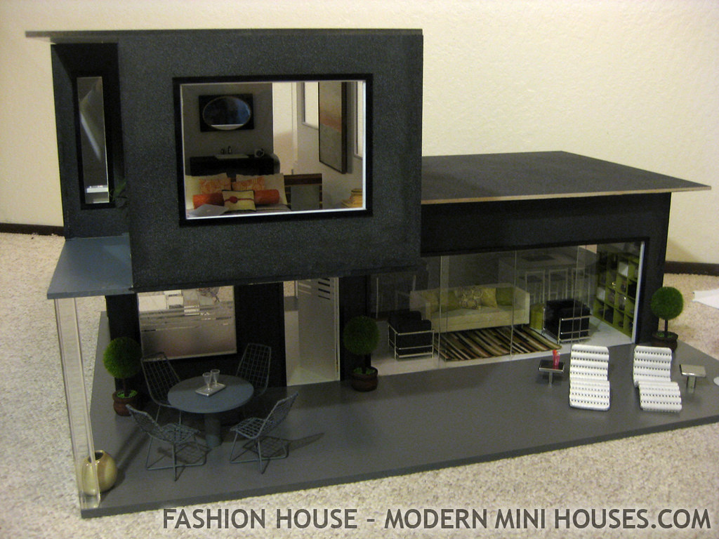 Fashion house modern dollhouse most furnishings and for Modern mini homes