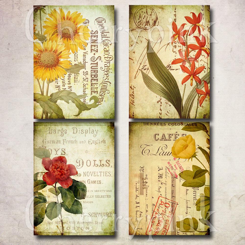 Vintage Flower Digital Collage Sheet Www Etsy Com