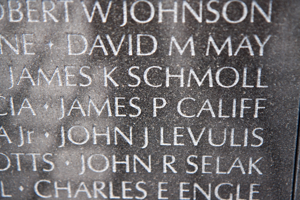 James P. Califf's name on the Vietnam Memorial