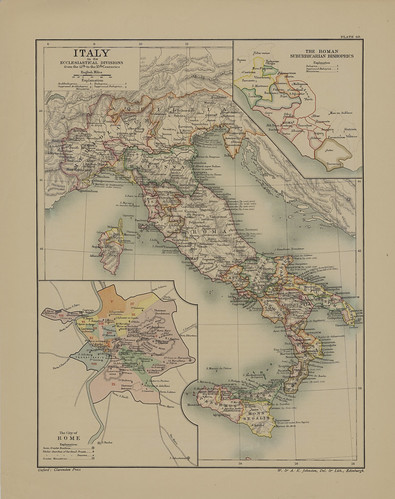 Map page of Section LXIX Italia Sacra Illustrating the Ecclesisatical Divisions in the Middle Ages from Part XVII of Historical atlas of modern Europe from the decline of the Roman empire : comprising also maps of parts of Asia and of the New world connec | by uconnlibrariesmagic