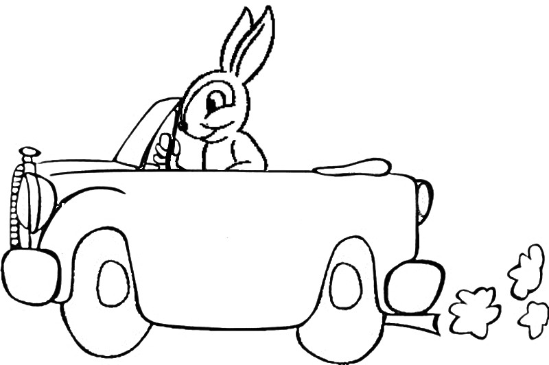 rabbit driving coloring page