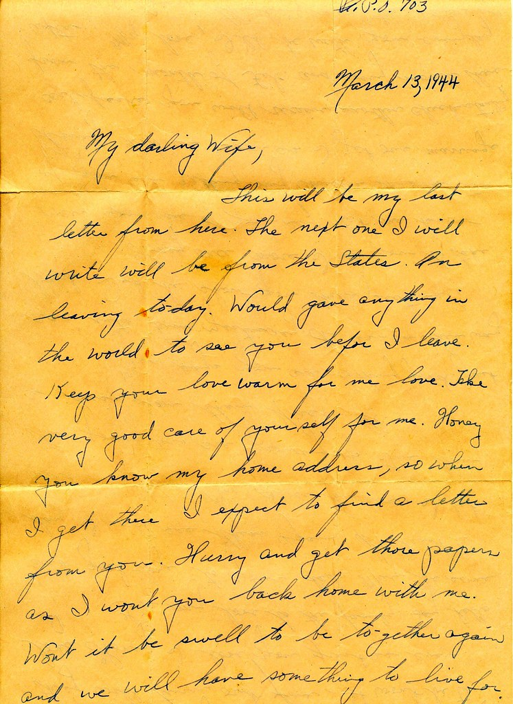 WWII March 13th 1944 Departing Sol r Love Letter to War …