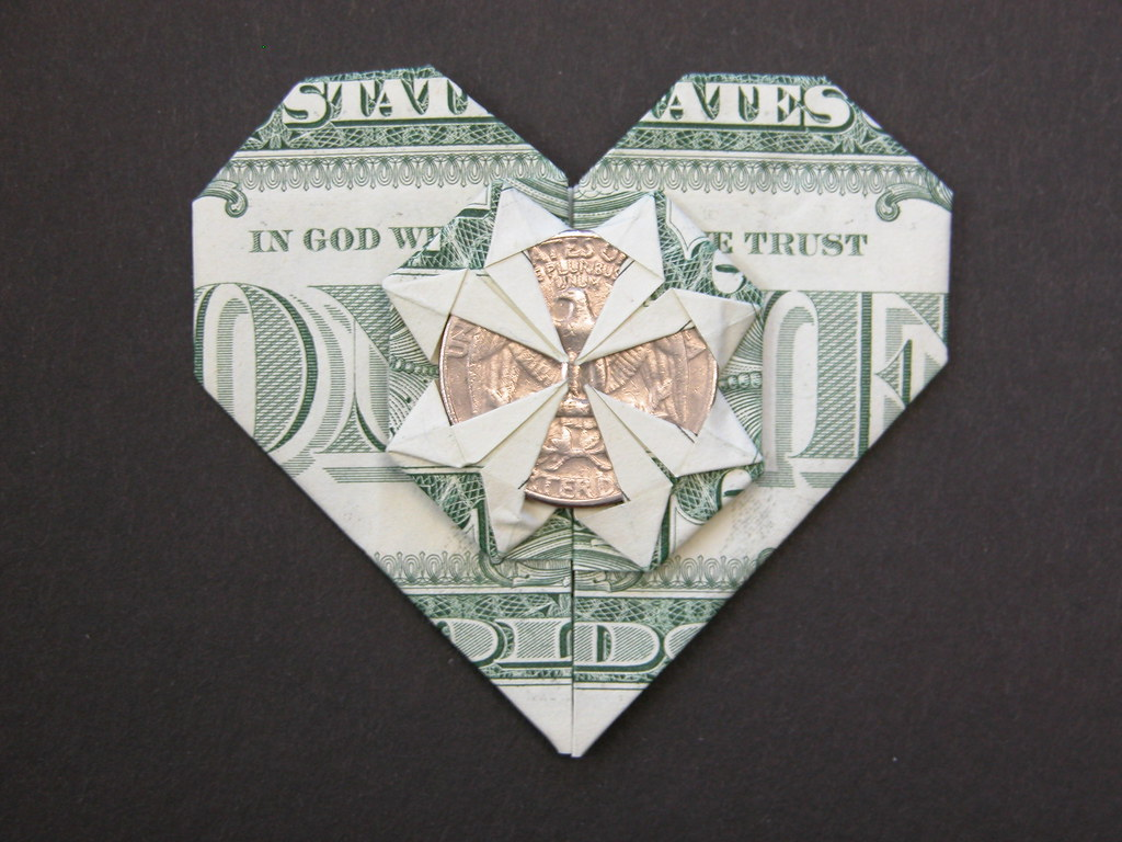 Dollar bill heart | Design: Francis Ow Book: Origami ... - photo#43