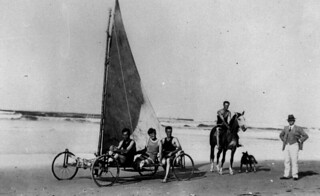 Early form of sand yachting on Coolangatta Beach, ca. 1925 | by State Library of Queensland, Australia