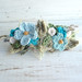 Turquoise Hair Barrette Crochet Flowers