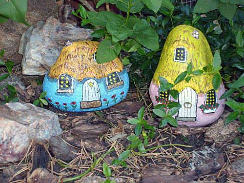 Two gnome home painted rocks painted rock gnome homes - Painting rocks for garden what kind of paint ...