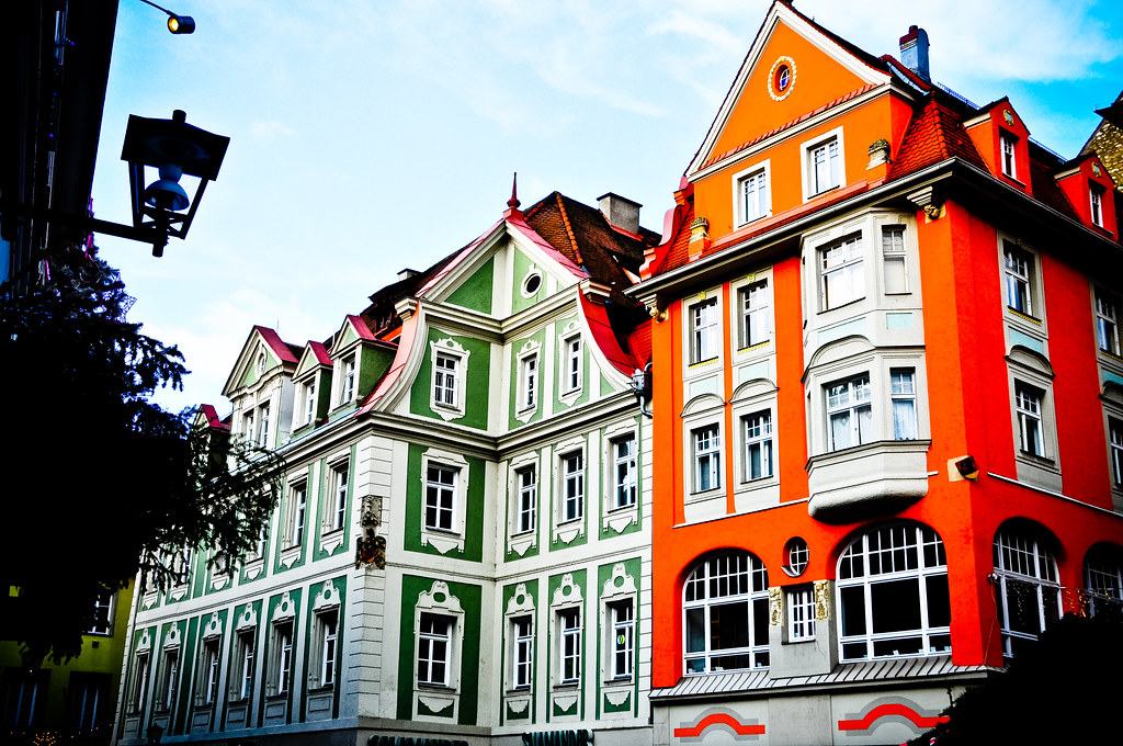 colorful old town buildings in regensburg germany colorful flickr. Black Bedroom Furniture Sets. Home Design Ideas