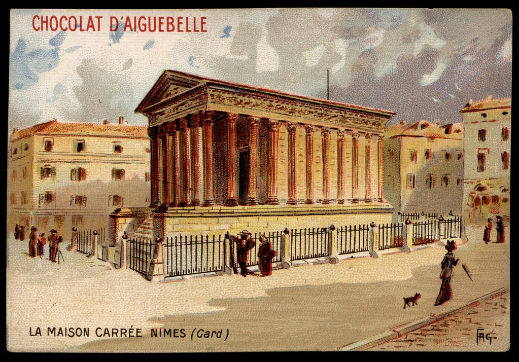 french tradecard la maison carree nimes chocolat aigueb flickr. Black Bedroom Furniture Sets. Home Design Ideas