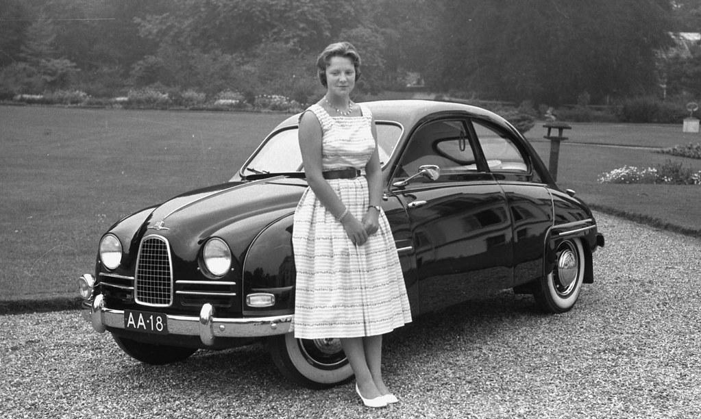 Prinses Irene Bij Saab 93 Aa 18 Paleis Soestdijk 1957