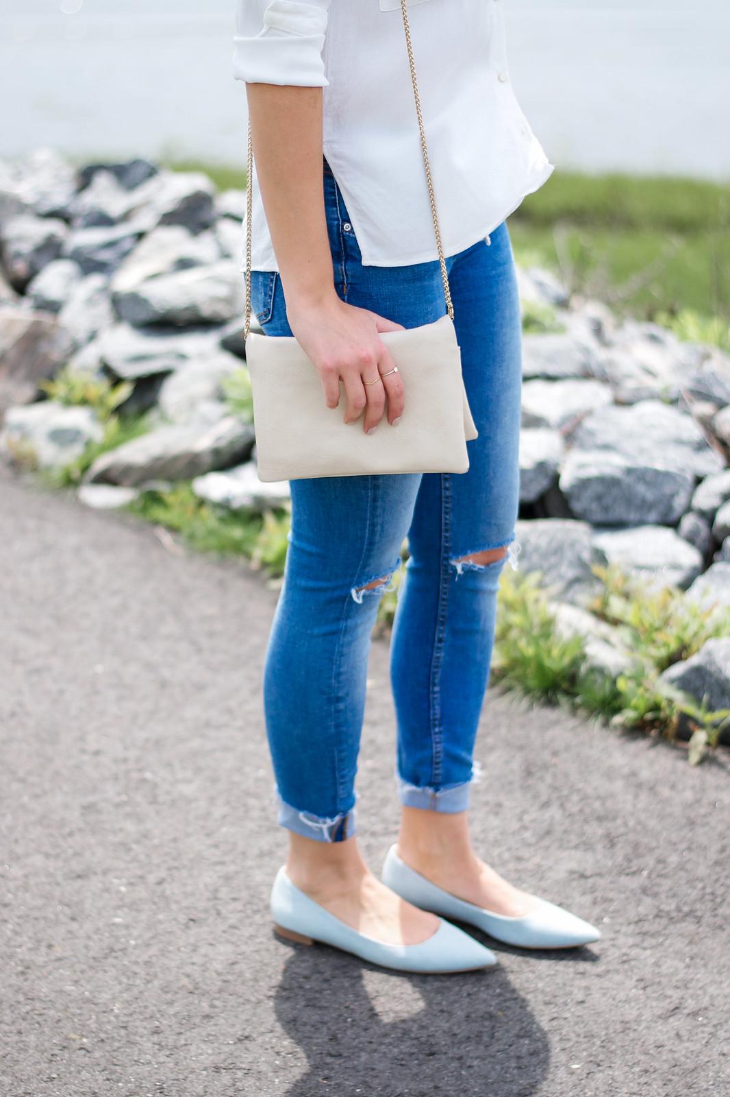 Ripped Jeans Denim Flats