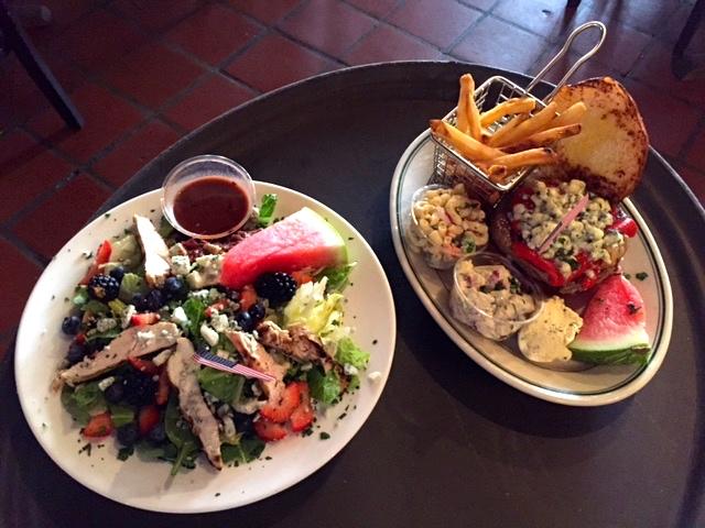 red white bleu burger; summer fruit grilled chicken salad