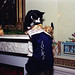 Photograph of Socks the Cat Peeking into his Christmas Stocking: 12/21/1993