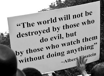 The world will not destroyed by them who do evil, but by those who watch them without doing anything