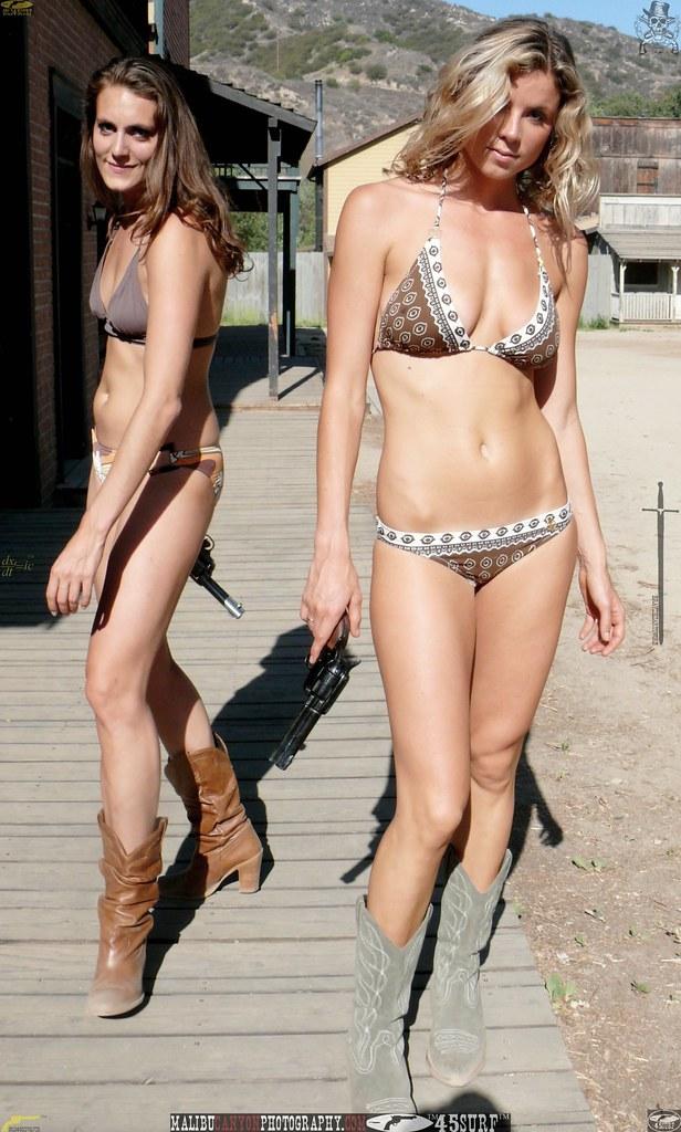 Cowgirl swimsuit bikini models wearing cowboy boots withgu ...