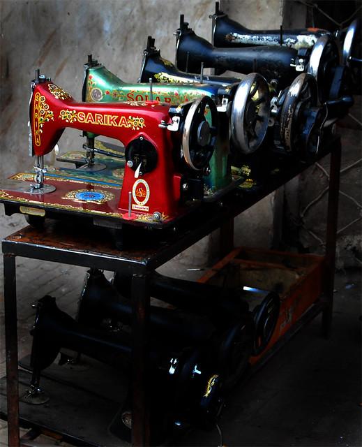 Old Sewing Machines At Repair Shop