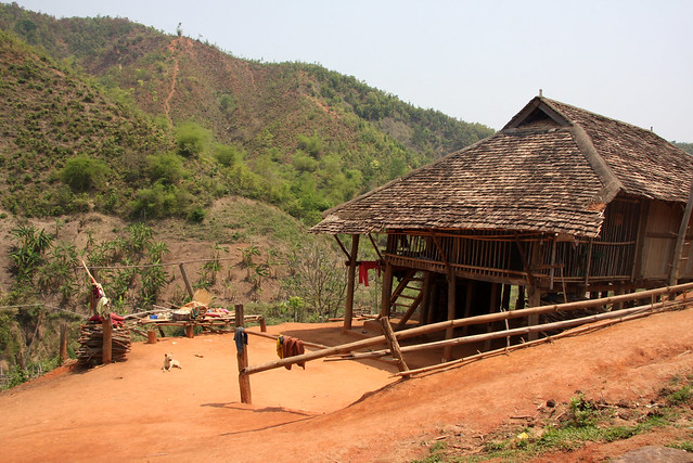 Traditional house in the village of Holoung, Shan state ...